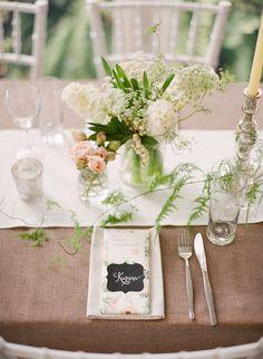 Linen, simple, light-centerpiece table setting