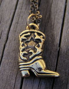 Cowboy/Cowgirl Boot Necklace by DragonInDixie on Etsy, $5.00