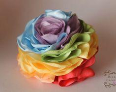 Rainbow Flower: shabby chic satin fabric by BindingCreations