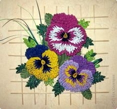 quilled pansies