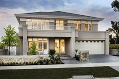 The timeless Hampton's style is at home in The Montauk, designed for harmonious family living. Hamptons Style Homes, The Hamptons, Modern House Plans, Modern House Design, Exterior House Colors, Exterior Design, Style At Home, House Color Schemes, Storey Homes