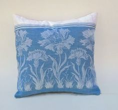 Shabby Blue Floral Pillow Cover 16 Inch Square by debupcycles