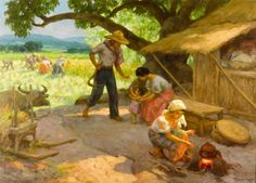 Bonhams Fine Art Auctioneers & Valuers: auctioneers of art, pictures, collectables and motor cars Arte Filipino, Filipino Culture, Art Village, Beautiful Drawings, Beautiful Paintings, Philippine Art, Philippines Culture, Picture Composition, Farm Art