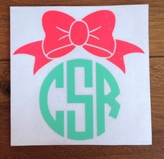BOW Monogram Vinyl Decal - pinned by pin4etsy.com