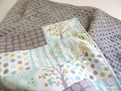 Backyard Baby Minky Quilt - Grey and Blue Baby Blanket-Trees, Dogs, and Birds - Baby Quilt - Baby Blanket - MInky Baby Blanket Baby Quilt for Olivia idea. Simple patches with minky on back