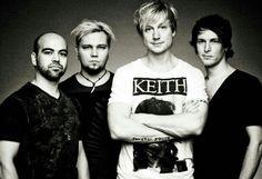 Raul Ruutu, Sami Osala, Samu Haber and Riku Rajamaa - members of the finnish rock band Sunrise Avenue