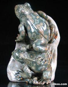 Ocean Jasper Carved Crystal Frog