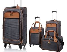 Jeffrey Banks 4Piece Luggage Set 28 Upright 21 Upright Underseater Spinner and Duffle Bag  Glen Plaid ** You can get more details by clicking on the image.