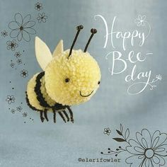 "Bee ""Tiddly pom pom"" by Eleri Fowler for Paper Rose greeting card"