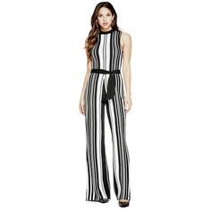 GUESS Tamika Wide-Leg Jumpsuit ($102) ❤ liked on Polyvore featuring jumpsuits, guess jumpsuit, flared jumpsuit, sleeveless jumpsuit, wide leg jumpsuit and jump suit
