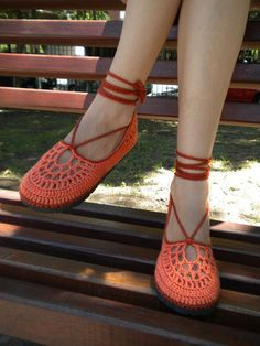 Shocking Orange Crochet Shoes