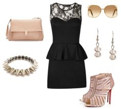 Outfit Ideas - What to Wear with a Black Peplum Dress. Paired with a spike bracelet and tan accessories.