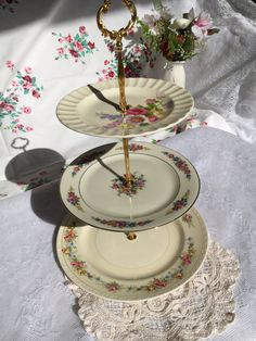Three Tier Floral Vintage Mismatched Plate Wedding Cake Dessert Stand by VintagePartyPlanner on Etsy & 3 Tiered Thanksgiving Autumn Vintage Plate Stand https://www.etsy ...