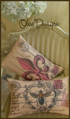 French inspired pillows at:  www.obeedesigns.etsy.com