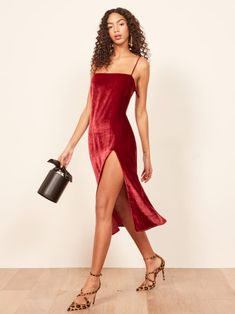 This is a midi length dress with a straight neckline, spaghetti straps and a side slit. The Ariana is fitted in the waist and hip. Belted Shirt Dress, Tie Dress, Metallic Dress, Vintage Style Dresses, Beautiful Gowns, Purple Dress, Women's Fashion Dresses, Dress To Impress, Designer Dresses
