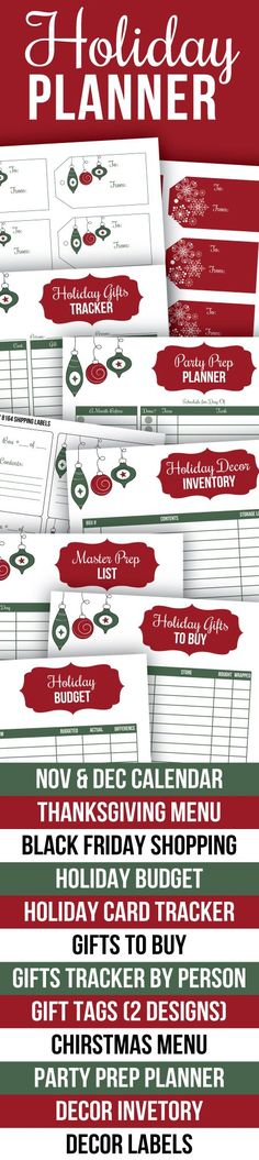 Printable Holiday Planner - everything you need to be organized this Christmas and Thanksgiving. Includes Nov and Dec calendars, Thanksgiving menu planner, Black Friday shopping list, holiday budget, holiday card tracker, gift lists, printable gift tags, Christmas menu planner, party prep planner, decor inventory, decor labels, etc. Perfect for keeping you organized this season.