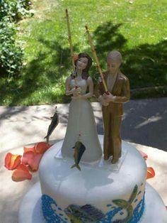Loving Fish Fishing Wedding Cake Topper BenchLanternBasketPail