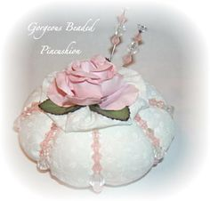 Beaded Pincushion / Pinkeep / Shabby Cottage Chic / Sewing Accessory / Made to Order