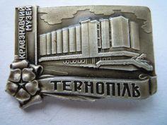 Badge pin. Metal. Ternopil. Ukrainian vintage. Made in