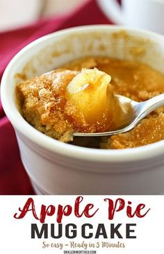 Apple Pie Mug Cake, everything you love about cinnamon & apple pie in an easy mug cake. Quick & easy desserts don't get any better than this. desserts tasty Apple Pie Mug Cake Quick Easy Desserts, Just Desserts, Delicious Desserts, Dessert Recipes, Quick Dessert, Healthy Desserts, Healthy Food, Diabetic Snacks, Healthy Breakfasts