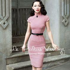 Le Palais Vintage Shanghai Plaid Rayon Red Slim Short Sleeve Knee Length Cheongsams