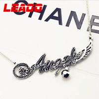 LEADO new 2014 brand fashion 925 sterling silver angel letter necklaces pendants jewelry for women girls accessories gifts LJ012