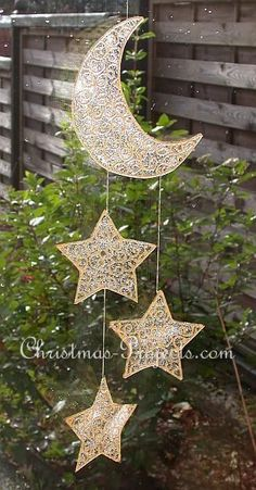Glitter moon and stars mobile