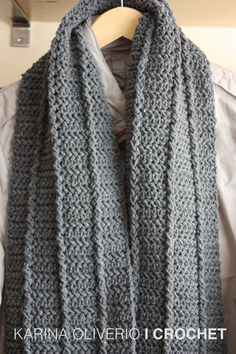 Crochet man scarf pattern, bufanda a crochet con patrón.