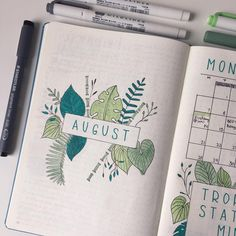 21 borderline genius monthly bullet journal page ideas to steal today - hea Bullet Journal Leaves, Bullet Journal Index Page, August Bullet Journal Cover, Bullet Journal Weekly Spread, Bullet Journal Spreads, Bullet Journal Titles, Bullet Journal School, Bullet Journal Inspo, Journal Pages