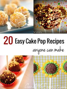 20 Cake Pop Recipes that anyone can make, no matter what their skill level. Tons of delicious ideas!