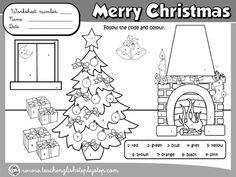 CHRISTMAS  COLOURING WORKSHEET (B&W VERSION)