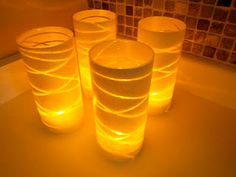 I see lots of possibilities with this GREAT idea for very inexpensive Luminaries for any season!  Six Sisters' Stuff: Dollar Store Glass Vase Christmas Luminaries Tutorial
