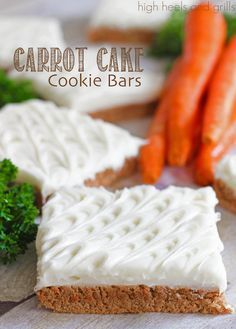 Carrot Cake Cookie Bars. Easy Easter dessert. http://www.highheelsandgrills.com/2014/04/carrot-cake-cookie-bars.html