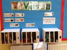 Vets role play for reception class. Home made cages from cardboard boxes staple gunned to wall! Dramatic Play Area, Dramatic Play Centers, Reception Class, Dear Zoo, Play Corner, Early Years Classroom, Role Play Areas, Pet Vet, Play Centre