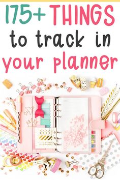 Things to Track in your Planner – Over 175 Ideas for your Planner! Finding things to track in your planner can be difficult at times. I have over 175 ideas of things you can use your planner to track! To Do Planner, Planner Pages, Life Planner, Happy Planner, Blog Planner, Planner Diy, Planner Supplies, Arc Planner, Custom Planner