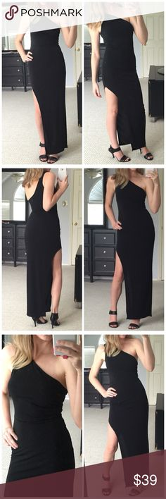 """▫Stunning Black One Shoulder Maxi with Slit Gorgeous black maxi dress with one shoulder design and high slit on leg. So perfect for date night or special occasion. Very stretchy and comfortable. Perfect little black dress. Modeling small and I'm 5'4"""" for height reference. 92% polyester 8% spandex. Measurements as follows- Bust: (S) 13"""" (M) 14"""" (L) 15"""". Length: 54"""". *Bundle 2+ items for discount! Dresses Maxi"""