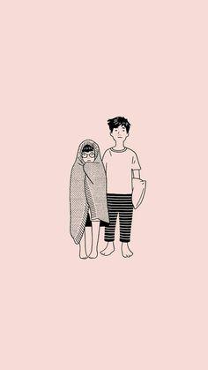 New Bts Landscape Wallpaper 2017 Ideas Cute Couple Drawings, Cute Couple Art, Cute Drawings, Cute Couples, Couple Illustration, Illustration Art, Landscape Illustration, Cute Couple Wallpaper, Dibujos Cute