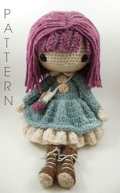 Kendra Amigurumi Doll Crochet Pattern PDF by CarmenRent on Etsy ♡ lovely doll
