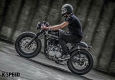 Royal Enfield custom cafe racer by K speed Cafe Racing, Cafe Racer Motorcycle, Moto Bike, Royal Enfield Classic 350cc, Gt Continental, Royal Enfield Wallpapers, Love Cafe, Enfield Motorcycle, Big Boyz