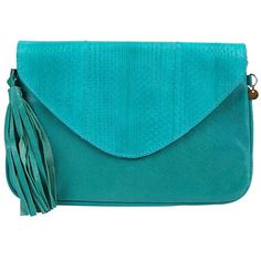 Cocobelle Fringe Clutch (377976201) ($146) ❤ liked on Polyvore featuring bags, handbags, clutches, blue, leather hand bags, man bag, leather clutches, leather purses and fringe purse