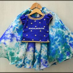 Kids Lehenga designs with hand embroidery by Angalakruthi-Ladies designer boutique in Bangalore Indian Dresses For Kids, Dresses Kids Girl, Kids Outfits, Baby Dresses, Baby Lehenga, Kids Lehenga Choli, Kids Lehanga, Kids Frocks Design, Baby Frocks Designs