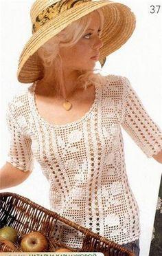 Irish crochet &: FILET CROCHET BLOUSE ... БЛУЗА ФИЛЕ
