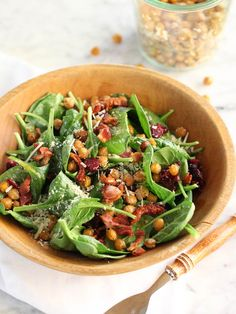 Spinach Salad with Hot Bacon Dressing and Spicy Roasted Chickpeas - foodiecrush Spinach Recipes, Vegetable Recipes, Salad Recipes, Real Food Recipes, Cooking Recipes, Healthy Recipes, Hot Bacon Dressing, Dressing Recipe, Winter Salad