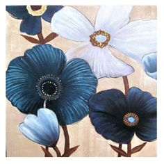 Blue and White Poppies Set of 2 Oil Paintings