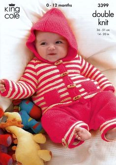 King Cole 3399 Knitting Pattern Baby Child pram suit coat and bottoms 14-20 inched (36-51cm) DK new by Bobbinswool on Etsy