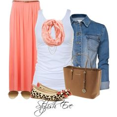 """I am loving this coral skirt. Cute , Flirty, and Comfortable!  """"aml"""" by stylisheve on Polyvore"""