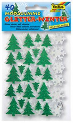 "folia Moosgummi Glitter-Sticker ""Winter"", sortiert /40 Stück"