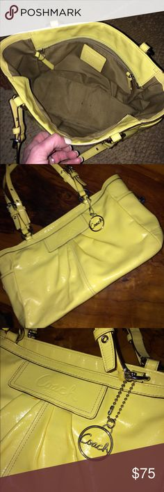 Rare pastel yellow leather Coach bag! Authentic and in excellent condition!  Clean, and super easy to clean! Coach Bags Shoulder Bags