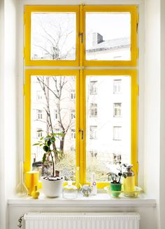 Yellow painted window frames