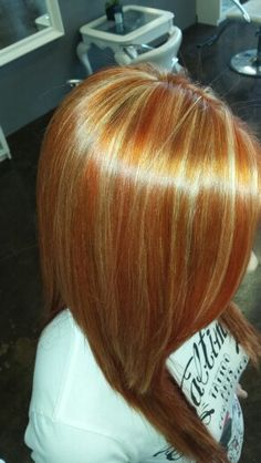 Spring color!  Red copper base with blonde highlights and popping copper highlights!  Beautiful dimensional long hair :)